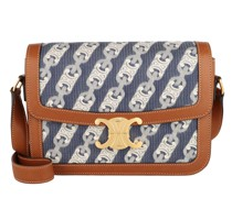 Umhängetasche Triomphe Jacquard Shoulder Bag Medium Leather Navy/Tan