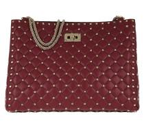 Rockstud Spike Shopping Shoulder Bag Ruby