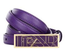 Thin Belt Gold Buckle Purple Gürtel lila