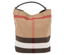 Ashby Hobo Canvas Check Medium Black Bag beige