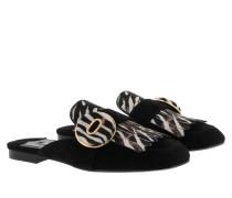 Calzature Donna Slipper Zebra Nero+Bianco Schuhe weiß
