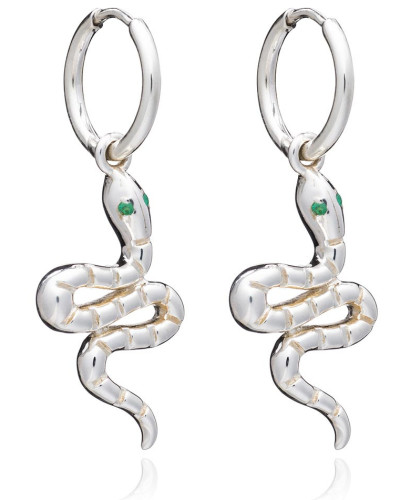 Ohrringe Emerald Snake Huggie Hoop Earrings Silver
