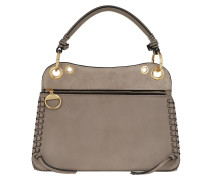 Tote Whipstitch Panelled Bag Leather Motty Grey