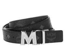 Reversible Belt with Shiny Cobalt Buckle Black Gürtel schwarz