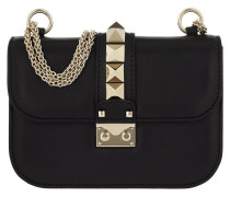 Rockstud Lock Shoulder Bag Small Black Umhängetasche