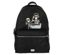 Men Backpack Vulcano DG Family Patch Nylon Nero Rucksack