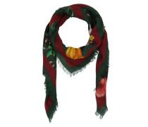 Flora Web Print Wool Silk Shawl Black/Green Schal