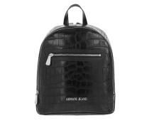 Embossed Croco Backpack Black Rucksack