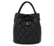 Beuteltasche Quilted B Line Bucket Bag Leather Black
