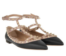 Rockstud Pointed Strappy Ballerinas Nero Poudre gold