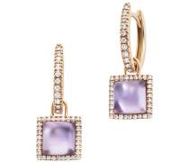 Ohrringe Earrings Square Pendant Amethyst Rosegold/Violet