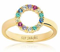 Ring Biella Piccolo Multicoloured Zirconia 18K Gold Plated