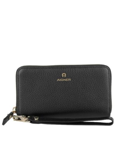 Portemonnaie Ivy Zip Around Wallet On A Strap Black schwarz