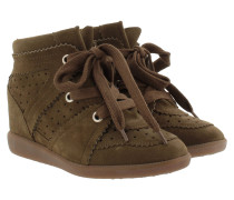 Bobby Suede Wedge Heel Trainers Brown Sneakerss
