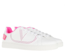 Sneakers Backnet Sneaker Leather Bianco Fuxia Fluo