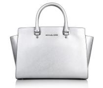 Michael Kors Tasche - Selma LG TZ Satchel Silver - in silber aus Saffianoleder - Henkeltasche für Damen