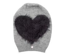 Heart Wool Fleece Hat Grey Rock Schal grau