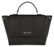 Synthetic Saffiano Trapeze Flap Top Handle Bag Nero