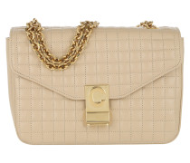 Umhängetasche C Bag Medium Quilted Calfskin Beige