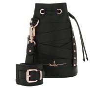 Kasper Stripes Bucket Bag Black Beuteltasche