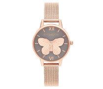 Uhr Watch 3D Butterfly Roségold