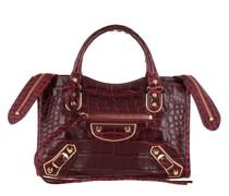 Tote City Shoulder Bag Leather Dark Red