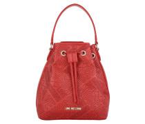 Logo Embossed Bucket Bag Rosso Beuteltasche