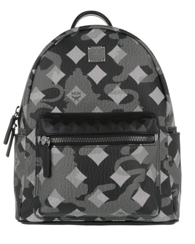 MCM Damen Stark Munich Lion Camo Backpack Small Silver Shadow Tasche grau
