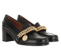 Pumps Chunky High-Heeled Loafers Leather Black
