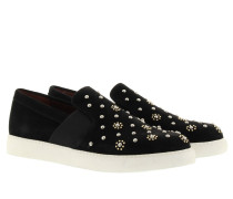 Loafers & Slippers - Ecuador Crosta Suede Slip On Stud Black