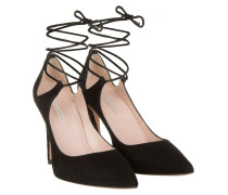 Pumps - Lace-Up Suede High Heels Black