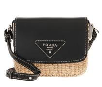 Umhängetasche Shoulder Bag Raffia Leather Beige/Black