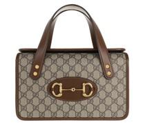 Satchel Bag Small Horsebit 1955 Top Handle Leather Beige Ebony/Brown Sugar