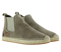 Boots & Booties - Canvas Check Bainsford Flat Espadrille Chelsea Boot Stone