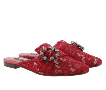 Schuhe Lace With Jewel Buckle Slippers Rosso Scuro