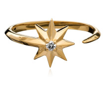 Ring Shooting Star Diamond Adjustable Silver