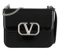 Umhängetasche V Sling Shoulder Bag Patent Leather Black