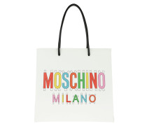 Logo Tote Bag Calfskin White/Multicolor weiß