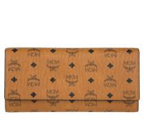 Color Visetos Three Fold Large Wallet Cognac