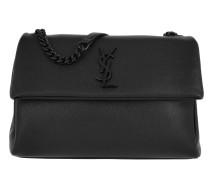 YSL Monogramme Shoulder Bag Grained Calf Black