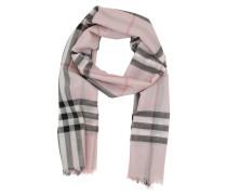 Metallic Check Silk/Wool Scarf Ash Rose/Silver Schal