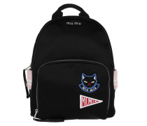 Bomber Backpack Satin Patches Black Rucksack