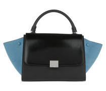 Small Calf Trapeze Bag Black Satchel blau