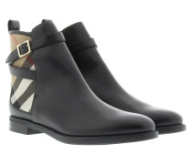 Boots & Booties - LF Richardson Flat Ankle Boot House Check Leather Black