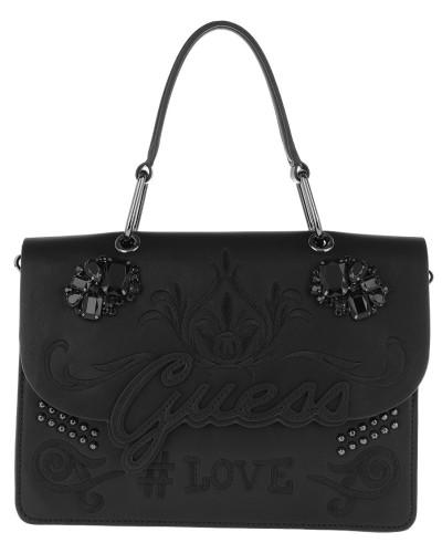 In Love Top Handle Flap Black Satchel Bag