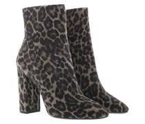 Boots Mid Heel Leather Powder Grey