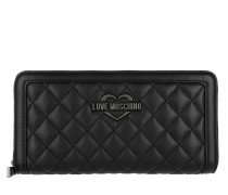 Wallet Metallic Quilted Nero Portemonnaie