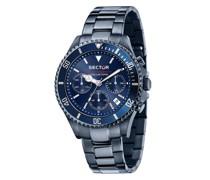 Uhr 43Mm Ip Blue Case Chrono Mvt Dial Bracelet