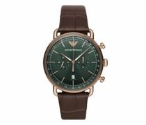 Uhren Men Chronograph Alligator-Embossed Leather Watch