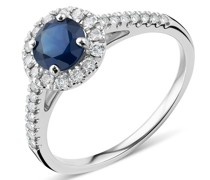 Ring 18K Diamond and Sapphire White Gold